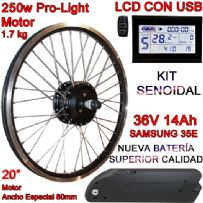 "KIT PRO-LIGHT 250W LCD USB 20"" BATERÍA FR4 14Ah"